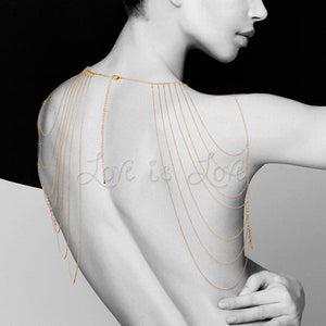 Bijoux Indiscrets Magnifique Metallic Chain Shoulders & Back Jewelry Gold For Her - Body Jewellery Bijoux Indiscrets