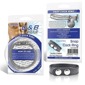 Blueline Cock and Ball Gear Snap Cock Ring Strap Small or Large Bondage - Cock & Ball Gear Electric Eel Inc Small 7.75 Inch
