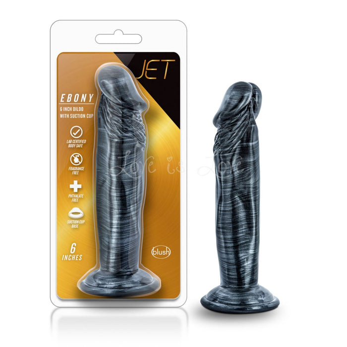 Blush Novelties Jet Ebony 6 Inch Dildo with Suction Cup Carbon Metallic Black