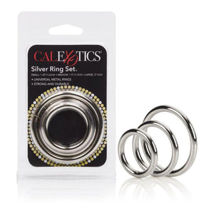 CalExotics Silver Ring 3 Piece Set (Newly Replenished) Cock Rings - Metal Cock Rings Calexotics