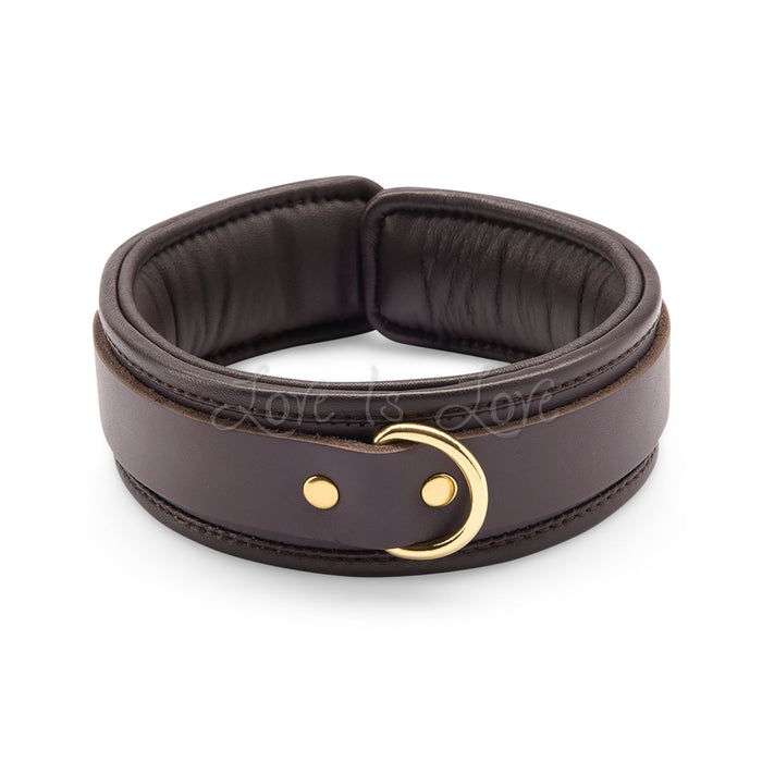 Coco de Mer Leather Collar Brown