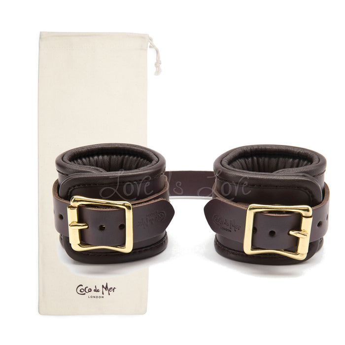 Coco de Mer Padded Leather Wrist Cuffs S/M Brown (Last Piece)