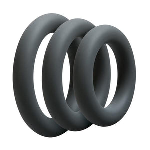 Doc Johnson OptiMale 3 C-Ring Set Thick Black Cock Rings - Cock Ring Sets Doc Johnson