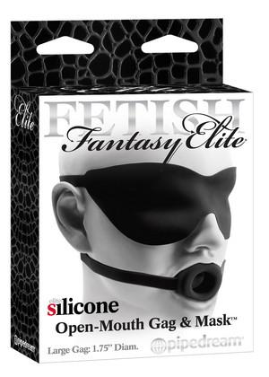Fetish Fantasy Elite Silicone Open-Mouth Gag And Mask Bondage - Ball & Bit Gags Pipedream Products Large