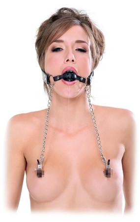 Fetish Fantasy Extreme Deluxe Ball Gag and Nipple Clamps Bondage - Ball & Bit Gags Pipedream Products
