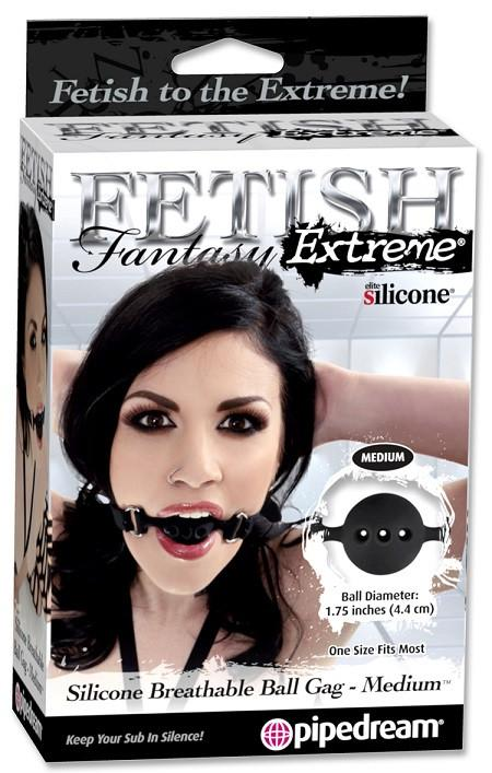 Fetish Fantasy Extreme Silicone Breathable Locking Ball Gag Small or Medium or Large (Retail Popular Good Quality Silicone Ball Gag)