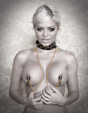 Fetish Fantasy Gold Collar And Nipple Clamps Nipple Toys - Nipple Clamps Pipedream Products