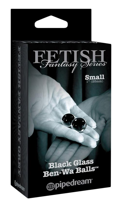Fetish Fantasy Series Limited Edition Black Glass Ben Wa Balls Small And Medium Sizes