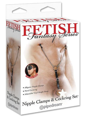 Fetish Fantasy Series Nipple Clamps And Cockring Set Nipple Toys - Nipple Clamps Pipedream Products