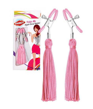 Frisky Tickle Me Pink Nipple Clamp Tassels Nipple Toys - Nipple Jewellery Frisky