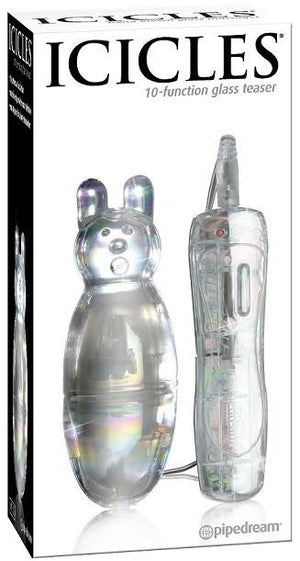 Icicles No. 33 - 10 Function Vibrating Glass Teaser 4 Inch Dildos - Glass/Ceramic/Metal ICICLES