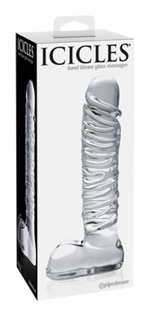 Icicles No. 63 Hand Blown Glass Massager With 8.25 Inch Realistic Straight Shaft Dildos - Glass/Ceramic/Metal ICICLES