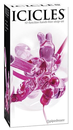 Icicles No.34 - 10 Function Vibrating Hands Free Strap On Vibrators - Clitoral & Labia ICICLES