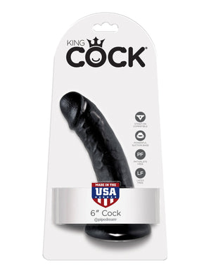 King Cock 6 Inch Cock Black or Flesh Dildos - King Cock Dildos King Cock Black