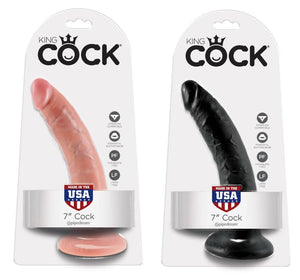King Cock 7 Inch Cock Black or Flesh Dildos - King Cock Dildos King Cock