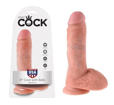 King Cock 8 Inch Cock with Balls Flesh