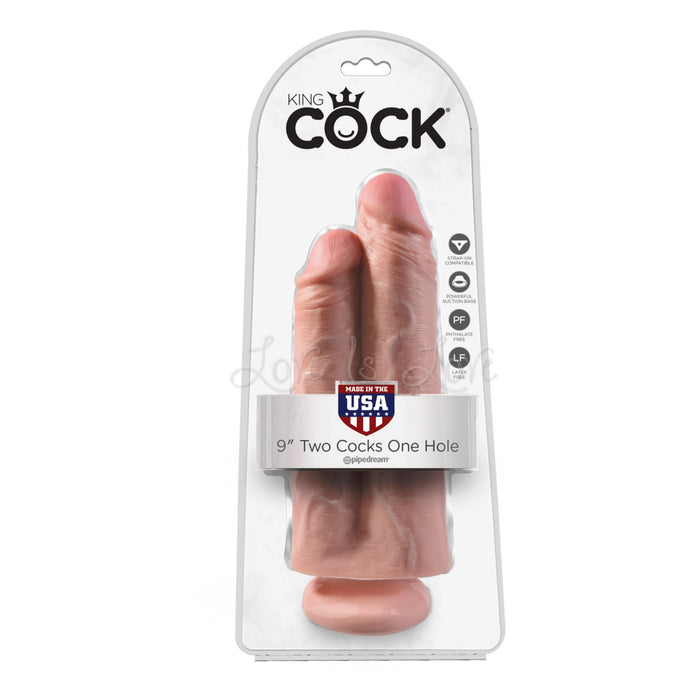 King Cock 9 Inch Two Cocks One Hole Flesh