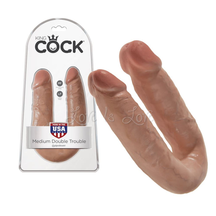 King Cock U-Shaped Medium Double Trouble Tan 13.6 Inch (Last Piece )