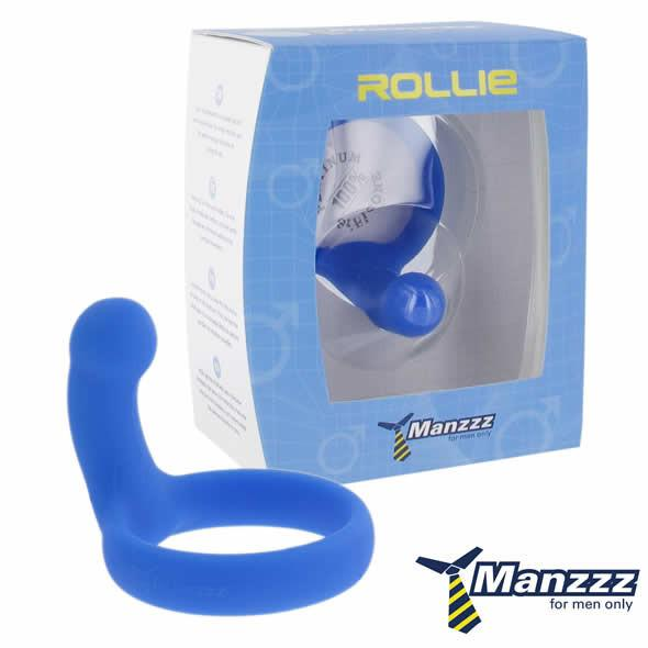 Manzzztoys Rollie Platinum Silicone Cock Ring Black or Blue [Clearance Sale]