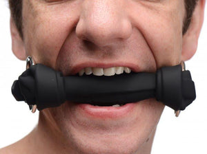 Master Series Bone and Gagged Silicone Dog Bone Gag in Black or White Bondage - Ball & Bit Gags Master Series