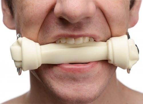 Master Series Bone and Gagged Silicone Dog Bone Gag in Black or White (Stock Reduction Sale)