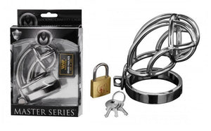 Master Series Captus Stainless Steel Locking Male Chastity Cage For Him - Chastity Devices Master Series