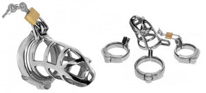 Master Series Detained Stainless Steel Chastity Cage For Him - Chastity Devices Master Series