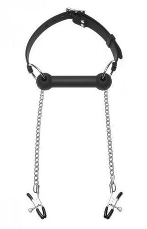 Master Series Equine Silicone Bit Gag With Nipple Clamps Bondage - Ball & Bit Gags Master Series