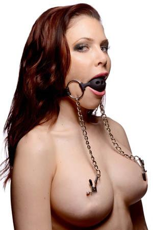 Master Series Hinder Breathable Silicone Ball Gag With Nipple Clamps Bondage - Ball & Bit Gags Master Series