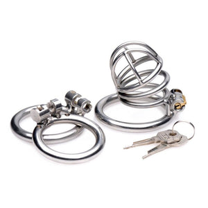 Master Series The Pen Deluxe Stainless Steel Locking Chastity Cage For Him - Chastity Devices Master Series