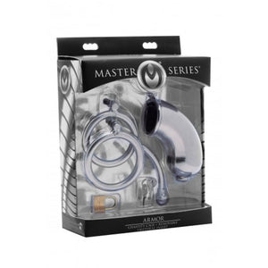 Masters Series Armor Chastity Cage With Removable Urethral Insert For Him - Chastity Devices Master Series