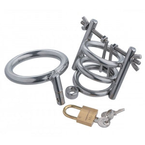 Masters Series Deluxe Cleaver Urethral Spreader CBT Chastity Cage For Him - Urethral Sounds/Penis Plugs Master Series
