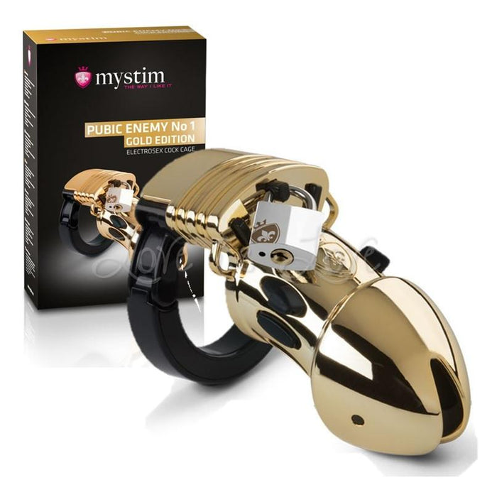 Mystim E-stim Cock Cage Public Enemy No 1 Gold Edition ( Limited Stock )