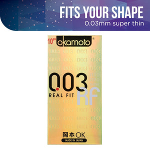 Okamoto 003 Real Fit Pack of 10s Enhancers & Essentials - Condoms Okamoto