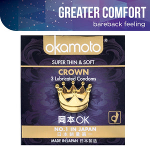 Okamoto Crown Condoms Pack of 3s or 12s Enhancers & Essentials - Condoms Okamoto