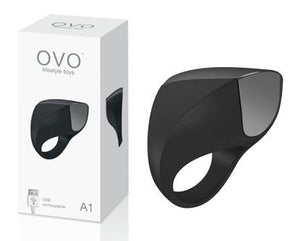 OVO A1 Silicone Vibrating Rechargeable Cock Ring Award-Winning & Famous - OVO OVO Black