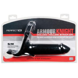 Perfect Fit Armour Knight Molded Hollow Strap On in Black or Clear (Retail Popular Hollow Strap-On) Strap-Ons & Harnesses - Hollow Strap-Ons Perfect Fit S/M Black