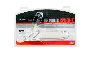 Perfect Fit Armour Knight Molded Hollow Strap On in Black or Clear (Retail Popular Hollow Strap-On) Strap-Ons & Harnesses - Hollow Strap-Ons Perfect Fit S/M Clear