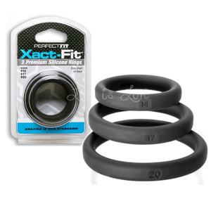 Perfect Fit Xact Fit 3 Rings Mixed Kit Black (Size 14, 17 and 20) Cock Rings - Cock Ring Sets Perfect Fit