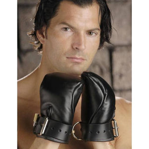 Premium Leather Deluxe Padded Fist Mitts SM or ML Bondage - Premium Luxury Bondage Gear XRLLC