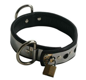 Premium Leather Line With Metal Band Collar Bondage - Collars & Leash Strict Leather
