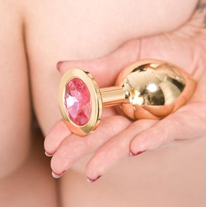 Rapture Gold Plated Solid Stainless Steel Butt Plug With Crystal Anal - Premium Luxury Anal Toys Rapture Novelties