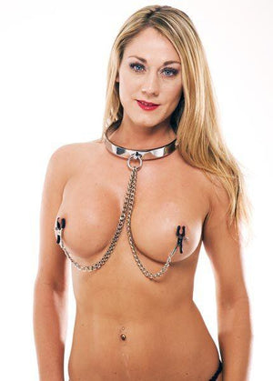 Rapture Stainless Steel Collar With Nipple Clamps Bondage - Collars & Leash Rapture Novelties