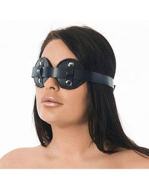 RIM 7574 Leather Blindfold Fur Inside Bondage - Blindfolds & Masks Rimba