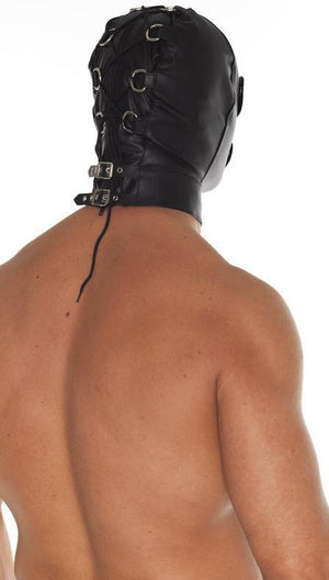 Rimba Leather Executioner Hood With Detachable Blinders And Mouth Piece RIM 7577 Bondage - Hoods & Muzzles Rimba