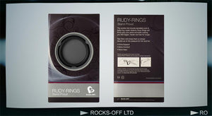 Rocks-Off Rudy Rings Stand Proud - Tear And Share Black or Blue For Him - Cock Rings Rocks-Off