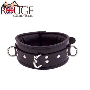 Rouge Garments Leather 3 D-Ring Padded Collar Bondage - Collars & Leash Rouge Garments Black
