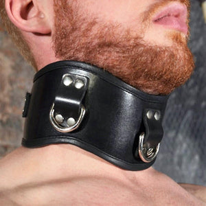 Rouge Garments Posture Collar 3 Ring Bondage - Collars & Leash Rouge Garments
