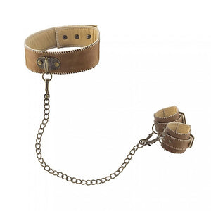 Shots Ouch Premium Bonded Leather Collar With Handcuffs Brown Bondage - Shots Ouch! Bondage Shots Ouch!