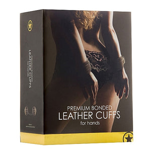 Shots Ouch Premium Bonded Leather Hand Cuffs Brown Bondage - Shots Ouch! Bondage Shots Ouch!